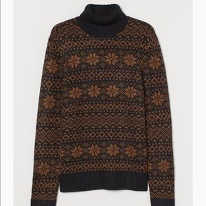 H&M jacquard knit turtleneck sweater snowflake